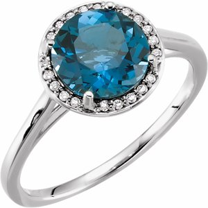14K White London Blue Topaz & .05 CTW Diamond Ring