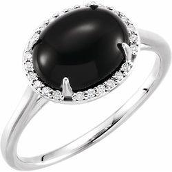 Gemstone & Diamond Halo-Styled Ring