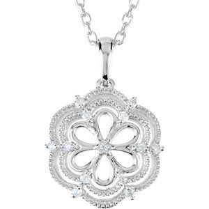 "Sterling Silver .08 CTW Diamond 18"" Necklace"