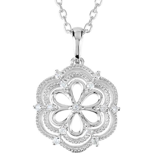 Sterling Silver .08 CTW Diamond 18