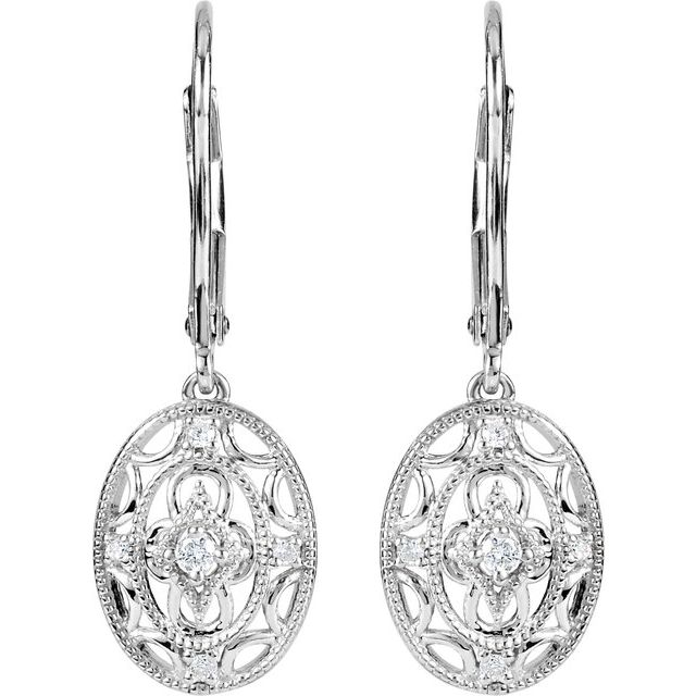 Sterling Silver 1/10 CTW Diamond Lever Back Earrings