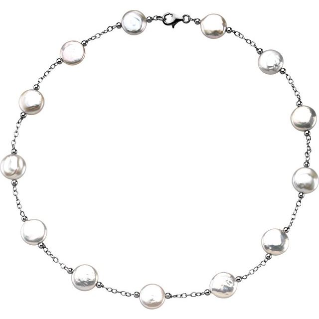 Sterling Silver 12-13 mm Freshwater Cultured White Coin Pearl Station 18