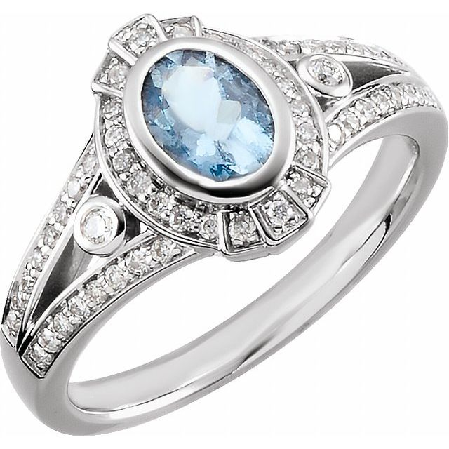 14K White 1/3 CTW Diamond & 7x5 mm Aqua Ring