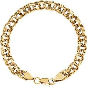 "14K Yellow 7 mm Solid Double Link Charm 7"" Bracelet"