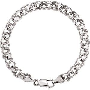 "14K White 7 mm Solid Double Link Charm 7"" Bracelet"