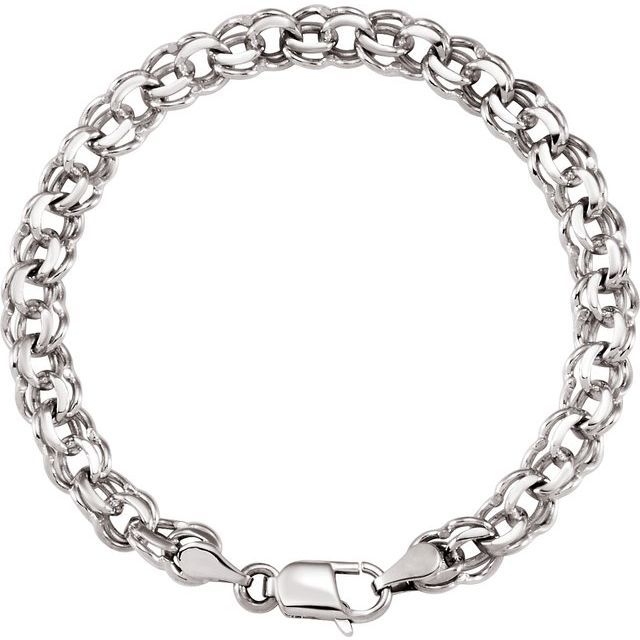 14K White 7 mm Solid Double Link Charm 7