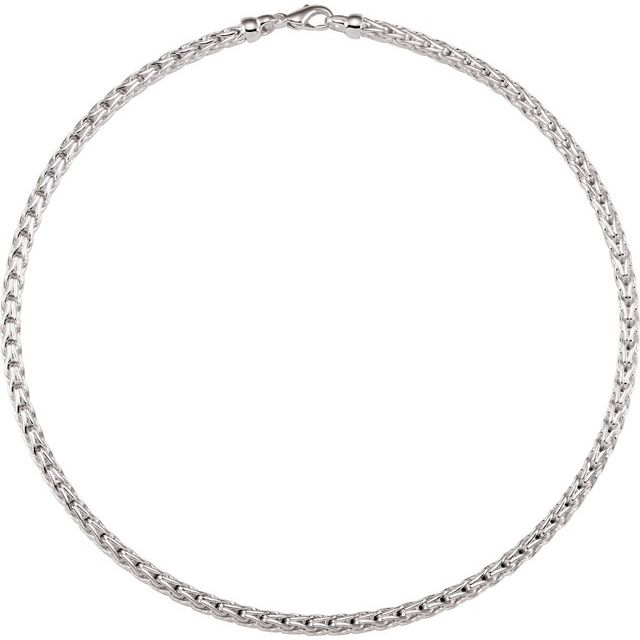 Sterling Silver 4.5 mm Solid Wheat Chain 16
