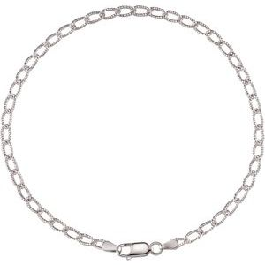 "Sterling Silver 3 mm Curb 9.5"" Anklet"