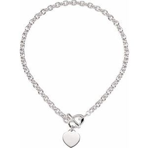 "Sterling Silver 8 mm Cable 18"" Chain with Heart Charm & Toggle Clasp"