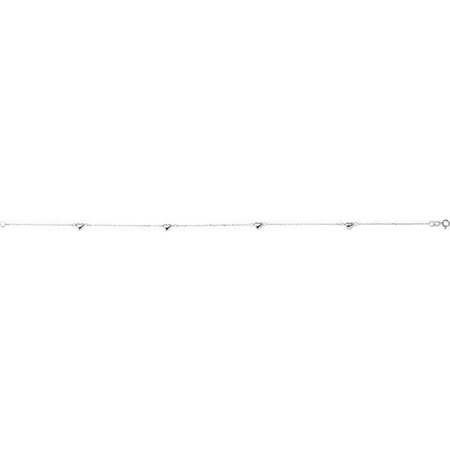 14K White .75 mm Diamond-Cut Cable Heart 10