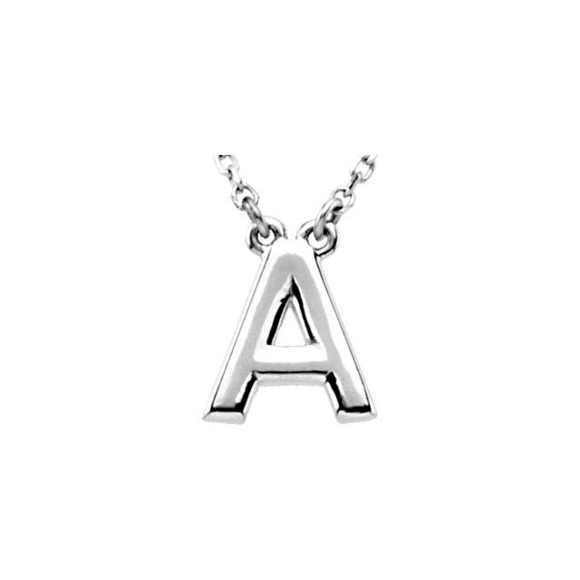 Sterling Silver Block Initial A 16