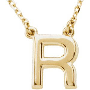 """14K Yellow Block Initial R 16"""" Necklace"""