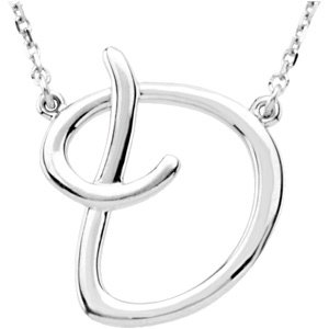 "Sterling Silver Script Initial D 16"" Necklace"