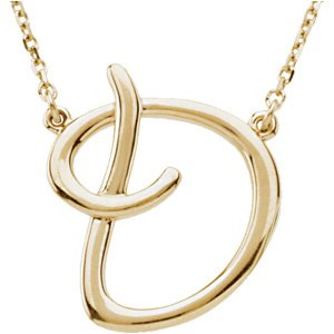 "14K Yellow Script Initial D 16"" Necklace"
