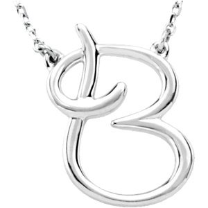 "Sterling Silver Script Initial B 16"" Necklace"