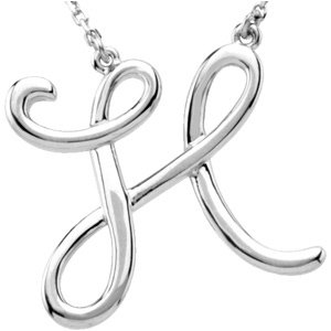 "Sterling Silver Script Initial H 16"" Necklace"