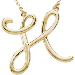 "14K Yellow Script Initial H 16"" Necklace"