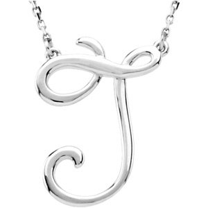 """Sterling Silver Script Initial J 16"""" Necklace"""