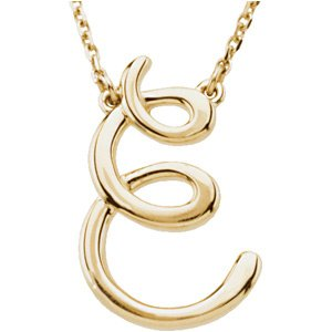 "14K Yellow Script Initial E 16"" Necklace"