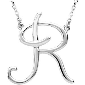 "Sterling Silver Script Initial R 16"" Necklace"