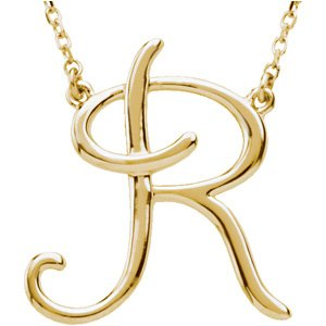 "14K Yellow Script Initial R 16"" Necklace"
