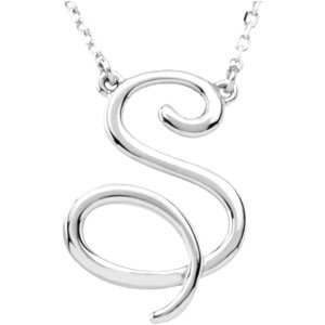 "Sterling Silver Script Initial S 16"" Necklace"