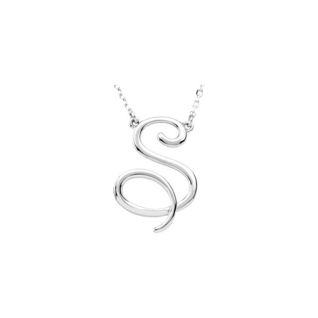 Sterling Silver Script Initial S 16