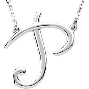 "Sterling Silver Script Initial P 16"" Necklace"