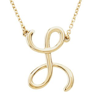 "14K Yellow Script Initial L 16"" Necklace"