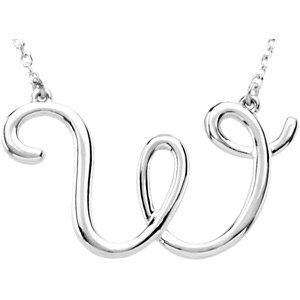 "Sterling Silver Script Initial W 16"" Necklace"