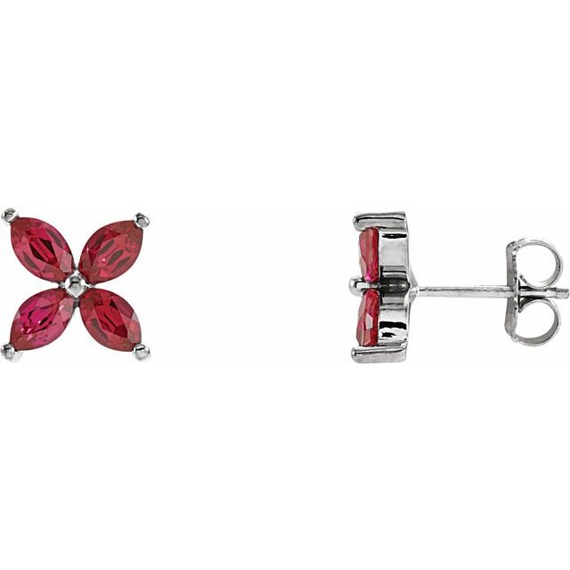 14K White Lab-Grown Ruby Earrings
