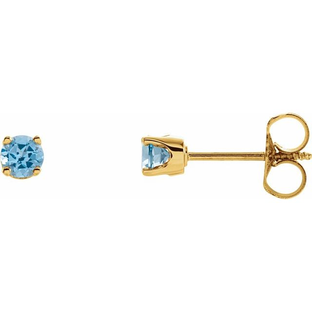 14K Yellow 3 mm Round Swiss Blue Topaz Youth Birthstone Earrings