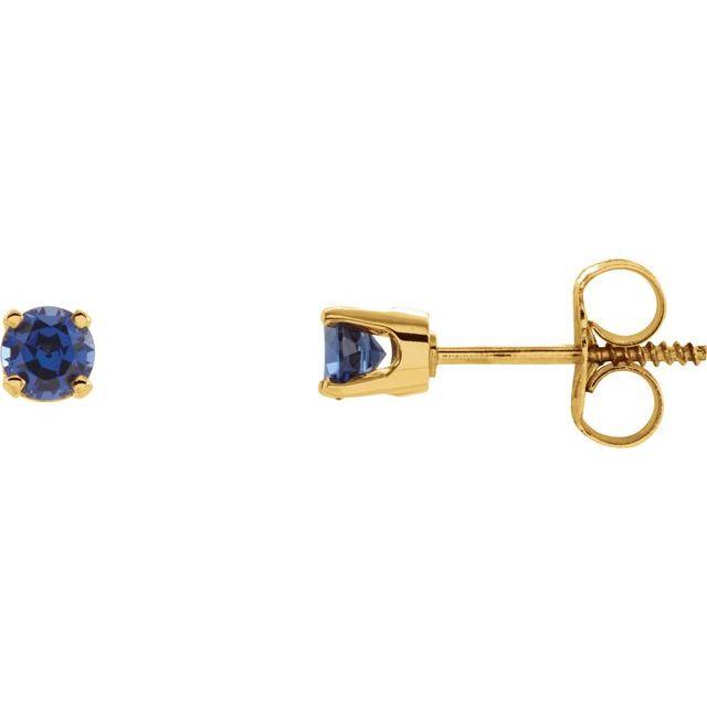 14K Yellow Imitation Blue Sapphire Youth Earrings