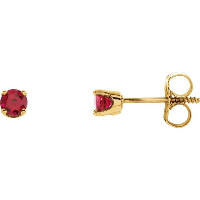 14K Yellow 3 mm Round Imitation Ruby Youth Birthstone Earrings
