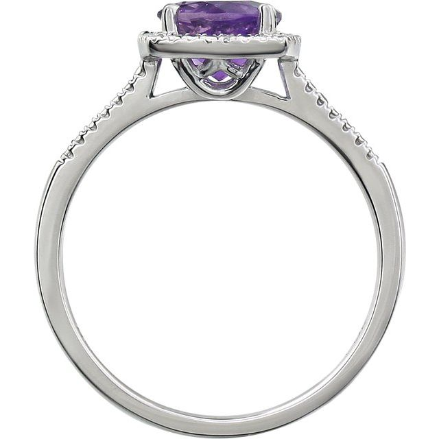 Sterling Silver Amethyst & .01 CTW Diamond Ring Size 7