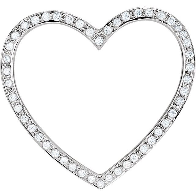 Sterling Silver Cubic Zirconia 19x15 mm Heart Pendant