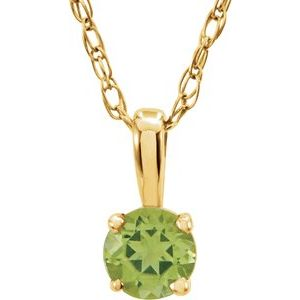 "14K Yellow 3 mm Round Peridot Youth Birthstone 14"" Necklace"