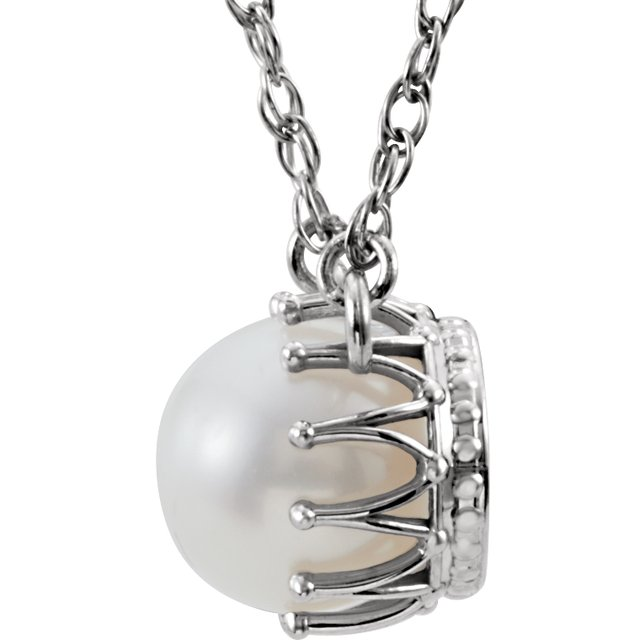 14K White Freshwater Cultured Pearl 18