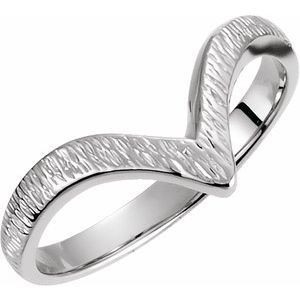 "14K White Grooved ""V"" Ring"