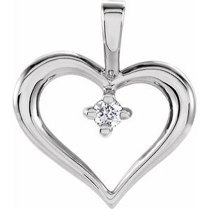 14K White .02 CT Diamond Heart Pendant