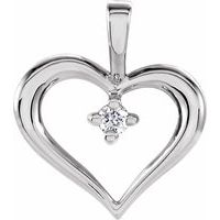14K White .02 CT Diamond Heart Pendant