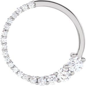 14K White 1/2 CTW Diamond Circle Journey Pendant