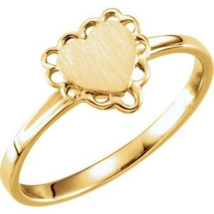 14K Yellow 7x6 mm Heart Signet Ring