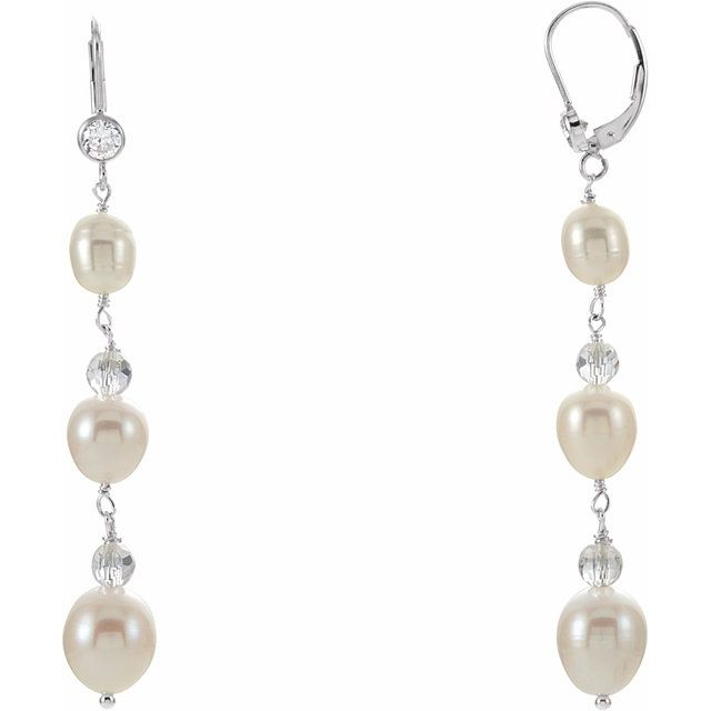 Sterling Silver Freshwater Pearl & Crystal Earrings