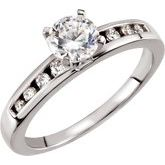 Channel-Set Engagement Ring, Peg Shank or Band