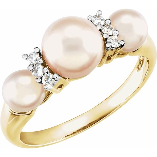 14k Yellow Cultured Freshwater Pearl and 1/10 CTW Diamond Ring