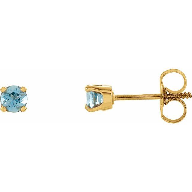 14K Yellow 3 mm Round Imitation Blue Zircon Youth Birthstone Earrings