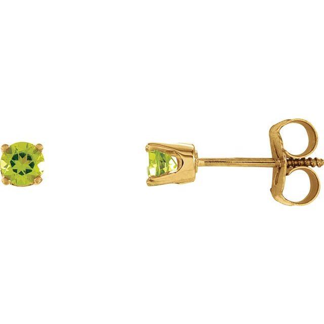 14K Yellow 3 mm Round Imitation Peridot Youth Birthstone Earrings