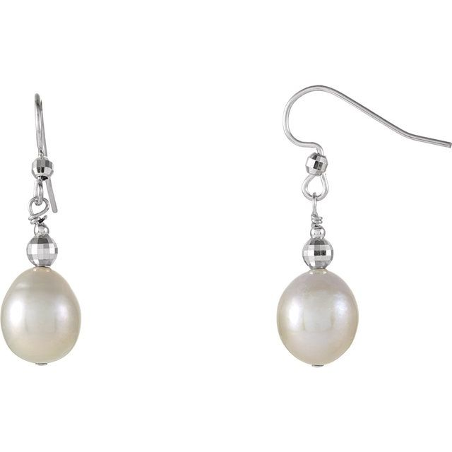 Sterling Silver 10-11 mm Freshwater Cultured Pearl Dangle Earrings