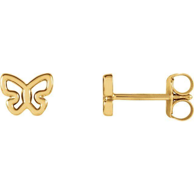 14K Yellow 6.1x4.8 mm Butterfly Earrings